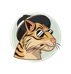 Portrait tiger glasses hipster style modern vector