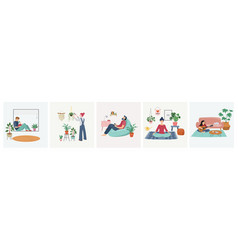 quarantine stay at home concept series - people vector image