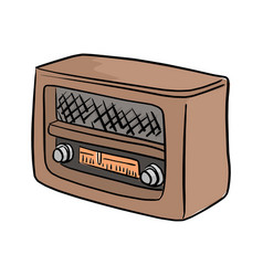 retro brown radio sketch doodle vector image