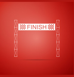 ribbon in finishing line icon on red background vector image