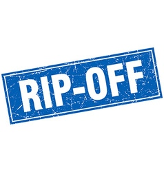 Rip-off blue square grunge stamp on white vector