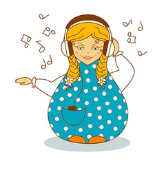 Russian girl listen to music by headphones vector