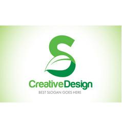 s green leaf letter design logo eco bio leaf vector image