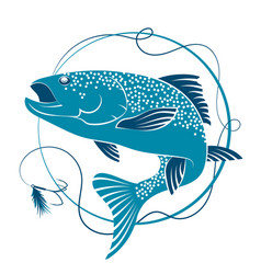Salmon and bait for fishing vector