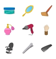 Salon icons set cartoon style vector image