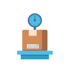 scale measure with box carton packing postal vector image