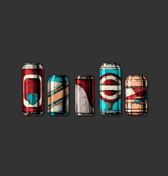 set beverage cans vector image