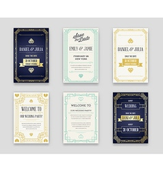 Set great quality style invitation in art deco vector