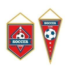 set soccer pennants isolated white vector image