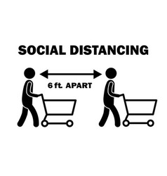Social distancing 6 ft apart while shopping vector