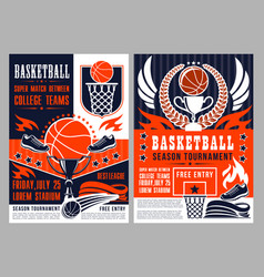 sport tournament in basketball announcement poster vector image