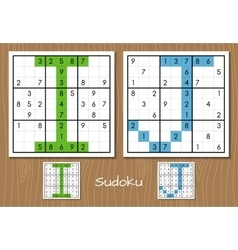 Sudoku set with answers I J letters vector image