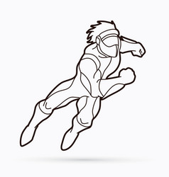 Superhero running action cartoon superhero vector