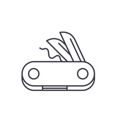 swiss knife line icon concept swiss knife vector image