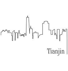 tianjin city one line drawing vector image