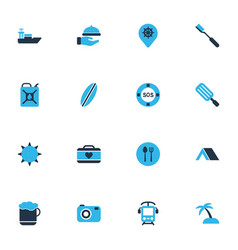 trip icons colored set with surfboard waiter vector image