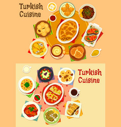 Turkish cuisine dinner with delight icon set vector