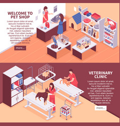 two isometric pet shop banner set vector image