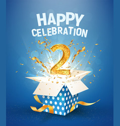 two years anniversary and open gift box vector image