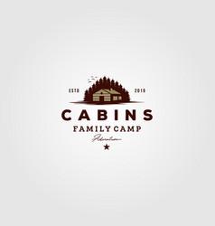 Vintage cabins logo design vector