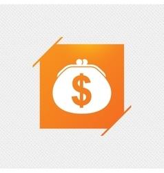 Wallet dollar sign icon Cash bag symbol vector