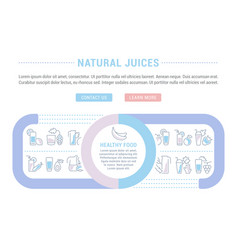 Website banner and landing page natural juices vector