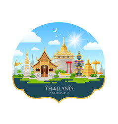 welcom to travel thailand building landmark vector image