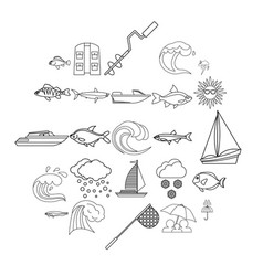 Wet icons set outline style vector