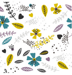 yellow and lavender floral pattern vector image