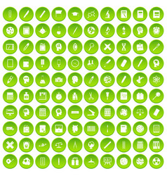 100 learning icons set green circle vector image vector image