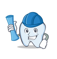 architect tooth character cartoon style vector image vector image