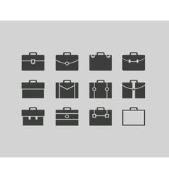 black briefcase icons set background vector image
