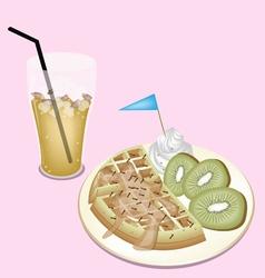 Lemon Iced Tea with Tradition Belgian Waffle vector image vector image