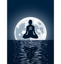 yoga over moon background vector image
