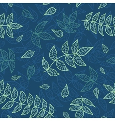 blue and green leaves seamless pattern vector image vector image