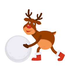 funny christmas polar deer in boots makes snowman vector image