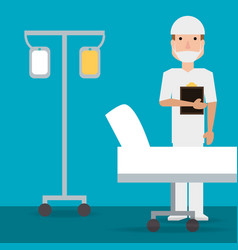 specialist man doctor with transfusion and vector image
