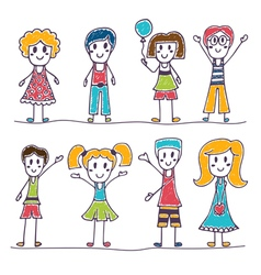 Collection of happy children hand drawn cute vector