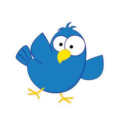funny cartoon blue bird vector image