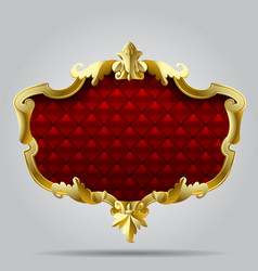 gold vintage frame with red button-tufted leather vector image vector image