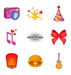 public catering icons set cartoon style vector image vector image
