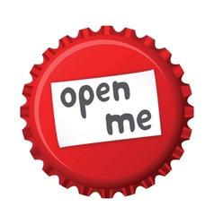 Red bottle cap open me vector image