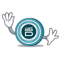 waving digixdao coin character cartoon vector image vector image