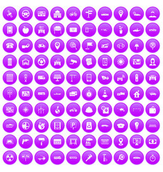 100 car icons set purple vector