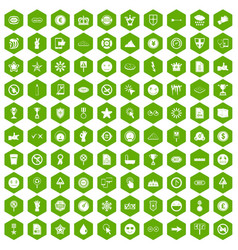 100 symbol icons hexagon green vector