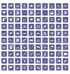 100 telecommunication icons set grunge sapphire vector