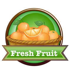 A basket of oranges with a fresh fruit label vector