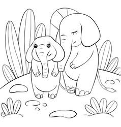 A children coloring bookpage two elephants on the vector