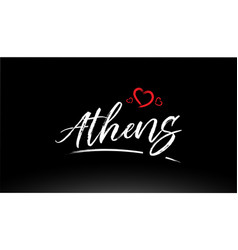 Athens city hand written text with red heart logo vector