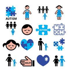 autism awareness puzzles autistic children vector image